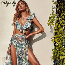 2019 Swimwear Women High Waist Bikini Swimsuit Push Up Ruffle Bikinis Set Print Bathing Suit Halter Beachwear Biquini Female
