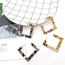 New Trendy Korean Style Acrylic Acetate Square Drop Earrings For Women Multicolor Geometric Dangle Earring Female Jewelry Gifts