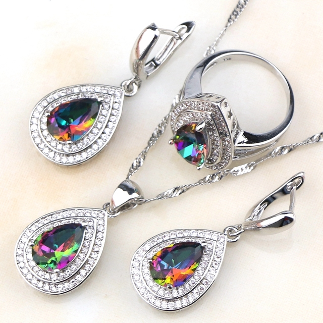 Drop Rainbow Fire White Zircon Created 925 Sterling Silver Jewelry Sets For Women Earrings/Pendant/Necklace/Rings Free Gift Box