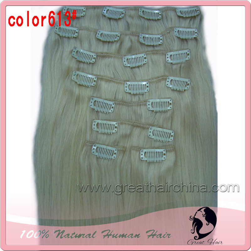2017 Metal Clips  18 inch 8 Pieces/set Straight Clip in Natural Hair Extensions, Blonde, Brown Clip ins, Free Shipping pretty short straight blonde 8 synthetic hair wigs free shipping