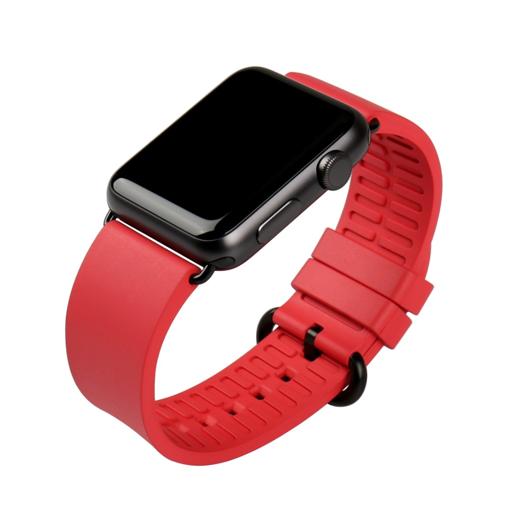Quality in fashion rose red watchbands for iwatch sports fluororubber rubber watches bracelet for apple watch bands 38mm 42mm watchbands 20mm 23mm high quality rubber watchband diamond watch fit ar5890 ar5905 ar5919 ar5920 watches bracelet