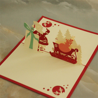 3D Xmas Tree Greetings Card DIY Hollow Red Christmas Festival Party Gift Laser Cut Cards