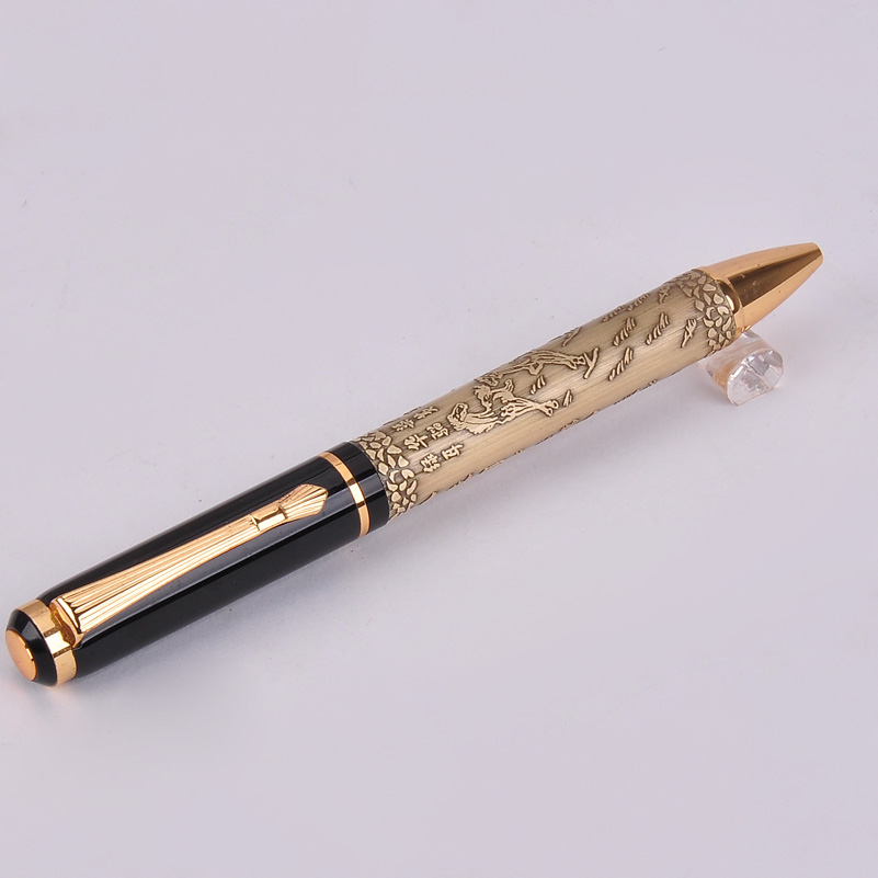 Hot Sale New Gold/Pink/Gray Color Baoer 507 Xubeihong the Eight Horses Business Gift Ballpoint Pen with Exquisite Golded Clip