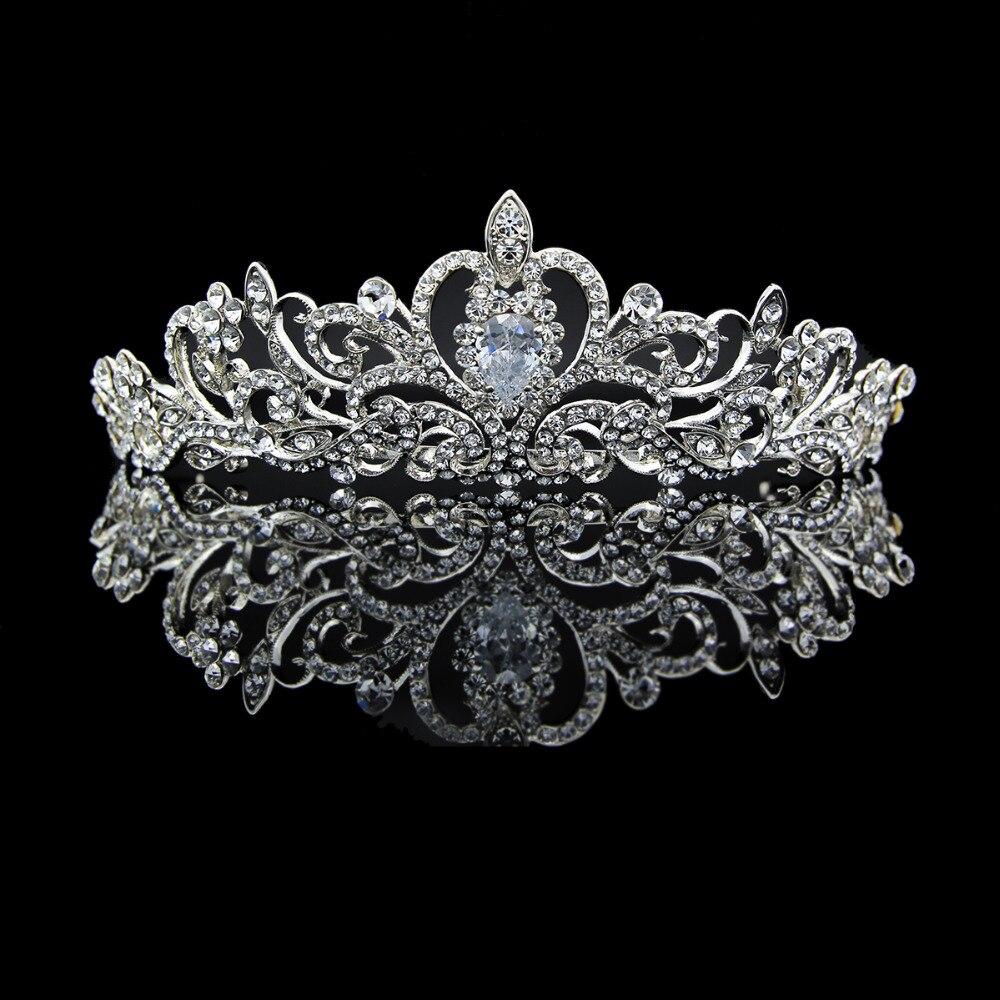 Echt Austrian Crystals Klassische Braut Tiara Krone Stirnbänder für Hochzeit Schmuck Frauen Hairpices JHA7762 1-in Haarschmuck aus Schmuck und Accessoires bei  Gruppe 1