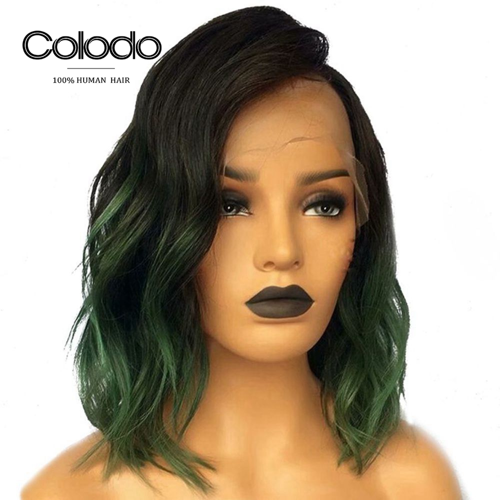 COLODO 150 Density Green Wig Human Hair Bob Lace Front Wigs For Women Brazilian Remy Ombre