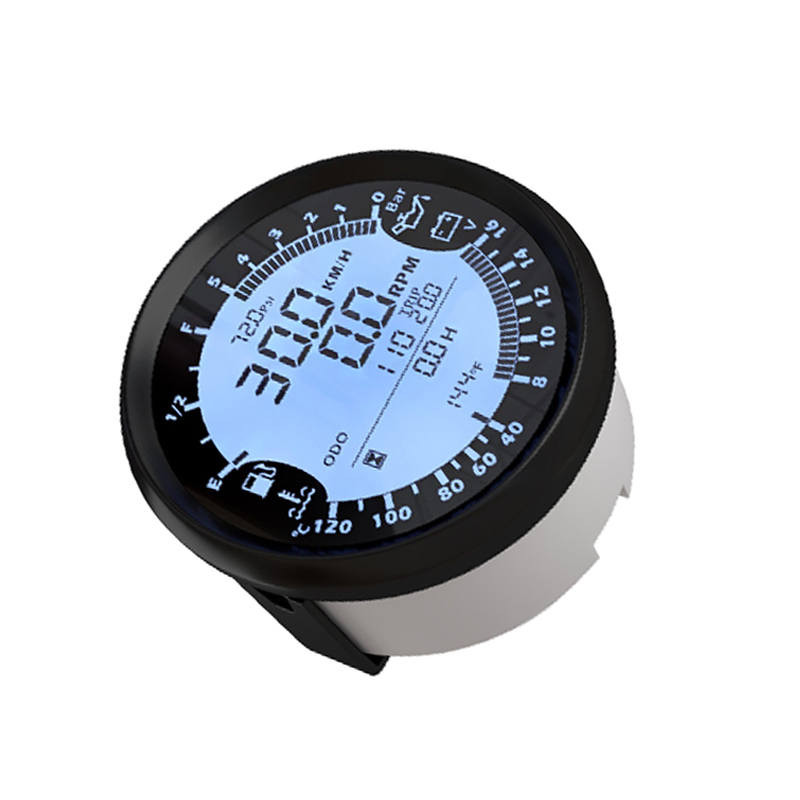 9-32V 85mm GPS speedometer Tachometer Oil Pressure Water Temp Voltmeter Fuel level ODOmeter with backlight for Auto Boat Gauges 100% brand new gps speedometer 60knots for auto boat with gps antenna white color