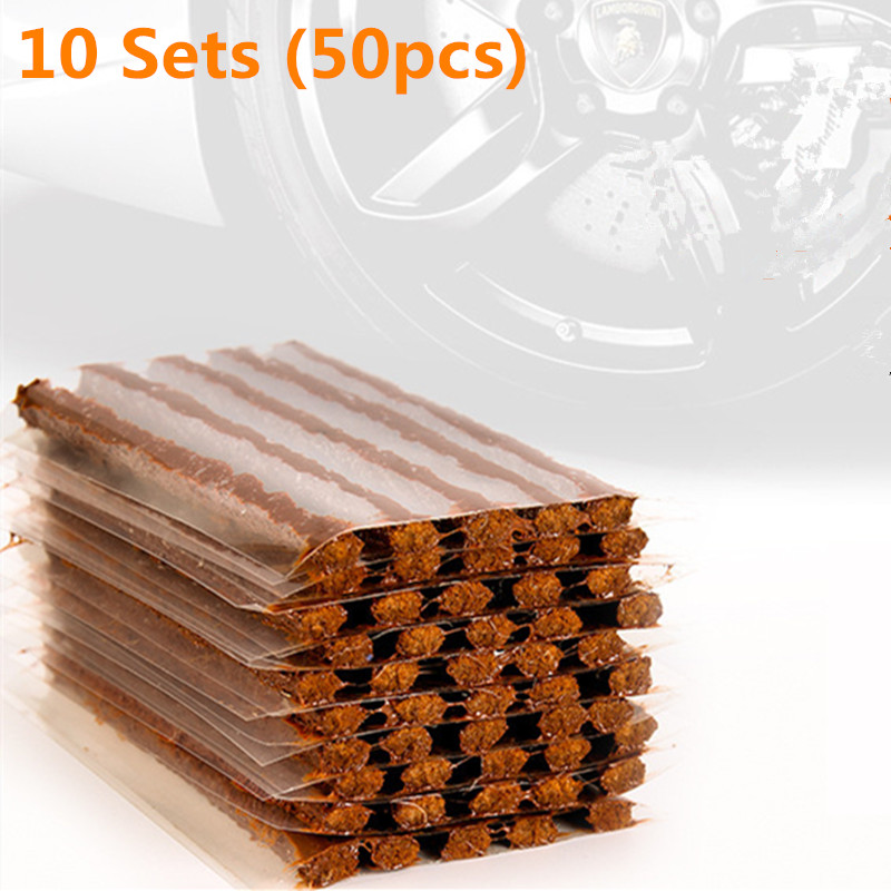 50Pcs/10Sets Car Fast Rubber Tire Repair Strip Auto Motorcycle Tubeless Tire Wheels Puncture Tape Repair Kit Rubber Strip