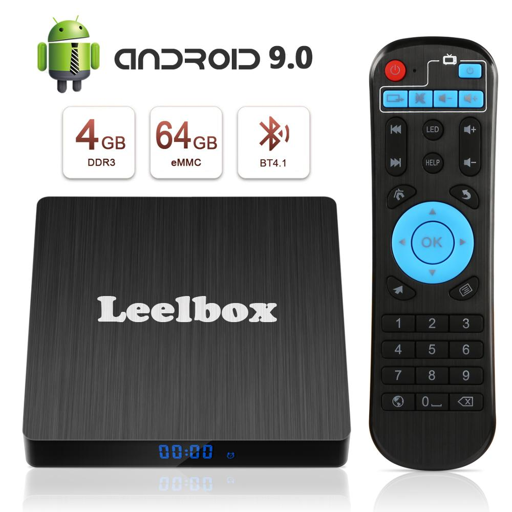 Leelbox Google TV Box Q4 Max 4G 64G Smart Android 9.0 TV Box HDMI2.0 2.4G/5G WiFi LAN BT4.0 4K H.265 lecteur multimédia