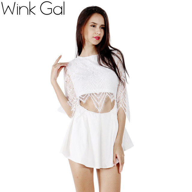 Wink Gal Sexy One Piece Jumpsuit Mulheres Bodysuit Rendas Mangas 3/4 Branco Oco Out Floral Romper 1521