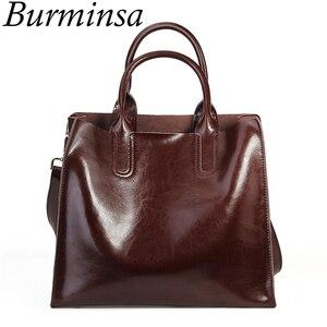 Image 1 - Burminsa Soft Real Genuine Leather Handbags Ladies Large Capacity A4 Work Tote Bags Women Vintage Shoulder Crossbody Bags 2020