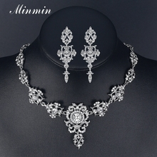 Minmin Classic Crystal Bridal Jewelry Sets Silver/Gold Color Choker Necklace Earrings Sets Wedding Jewelry for Women MTL432