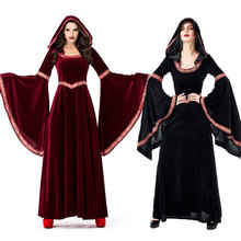 Umorden Medieval Sorceress Costume Pagan Witch Costumes Gothic Velvet Hooded Dress Halloween Purim Party Cosplay