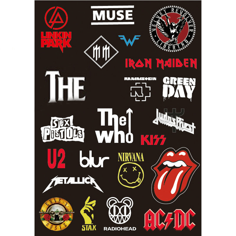 A4 Rock Music U2 Tongue KISS MUSE Hepburn Blur AC DC Who Car Doodle Sticker Luggage Suitcase Bike Laptop Skateboard Guitar Decal