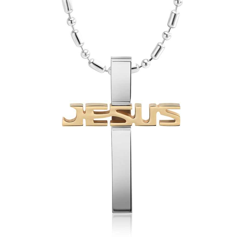 KISS MANDY Black Silver Gold Stainless Steel Jesus Cross Pendant Necklaces  Long Chain Men Religious Jewelry Accessories FN03