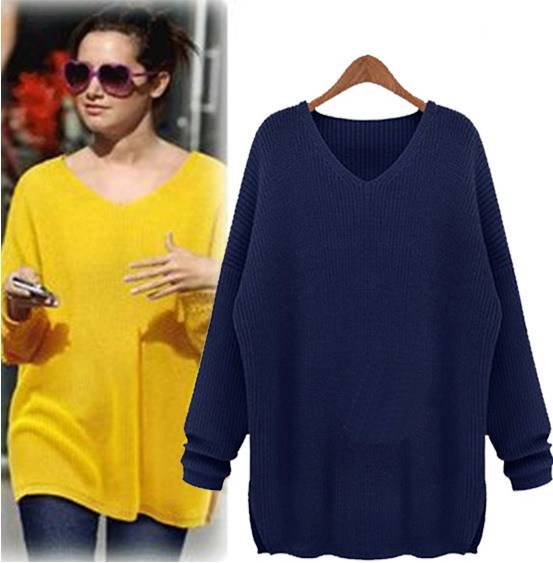 Oversized Yellow Crochet Sweater Women Navy Blue solid Color ...
