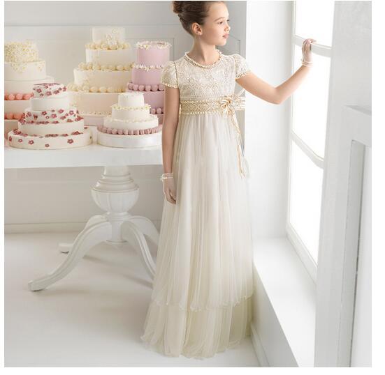 Girl's Formal Dress 2017 Flower Girls Princess Dresses High Waist Kids Long Lace Gauze Party Birthday Children's Wedding Dresses недорого