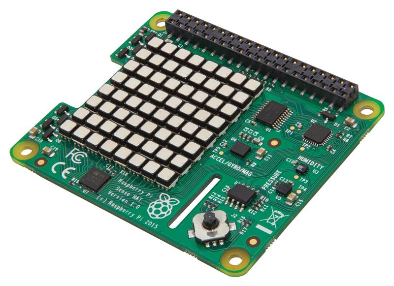 Raspberry Pi SenseHAT with direction pressure humidity and temperature sensor