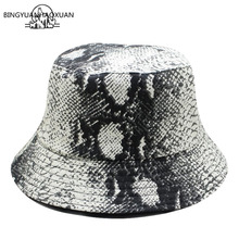 BINGYUANHAOXUAN Vintage White Men Women Snake Bucket Hat Harajuku pop snake leather Hip Hop Outdoor Ladies Fisherman Panama Cap