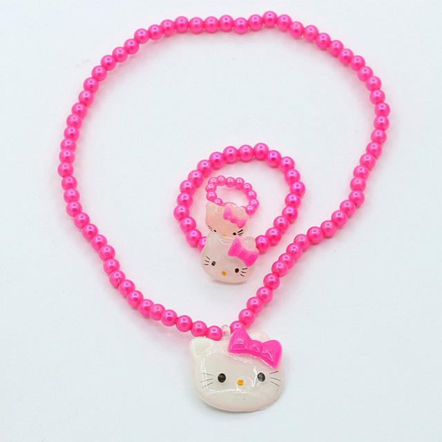 fd4049170 Hello Kitty Jewelry Set for Children Cute Cat Acrylic Beads Necklace Set  Parure Bijoux Fashion Hello Kitty Kids Jewelry
