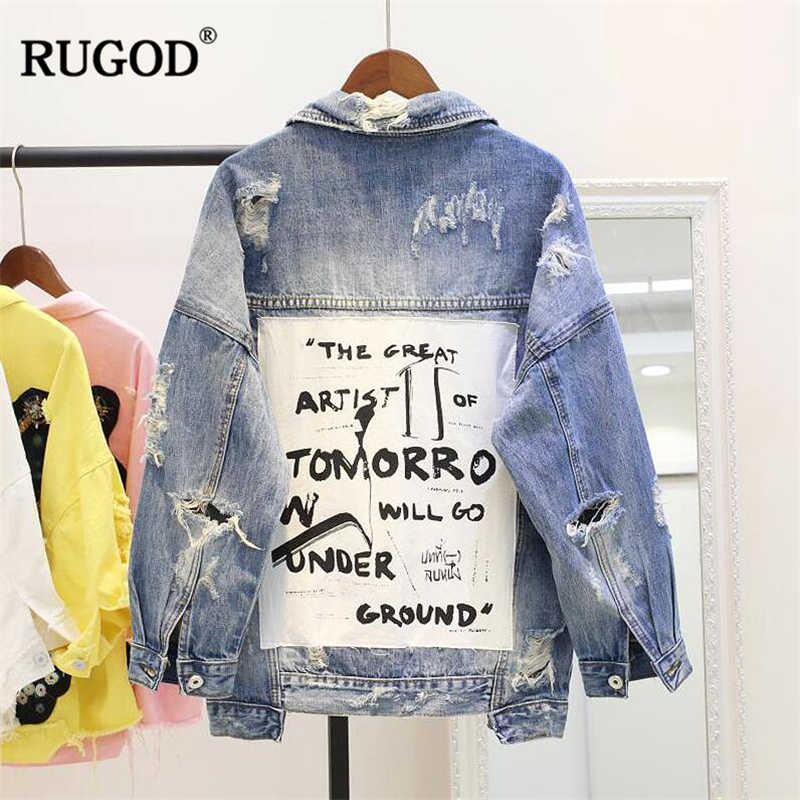 39a8226a515 ... RUGOD 2018 New Vintage Letter Print Frayed Jean Jacket Women Autumn  Winter Ripped Hole Denim Coat ...
