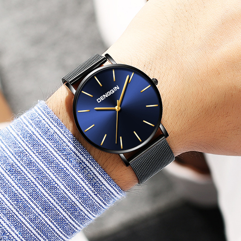 Reloj Hombre Luxury Watch Men Stainless Steel Analog Quartz Wristwatch 30m Waterproof Scratch Men Watch Clock Erkek Kol Saati533