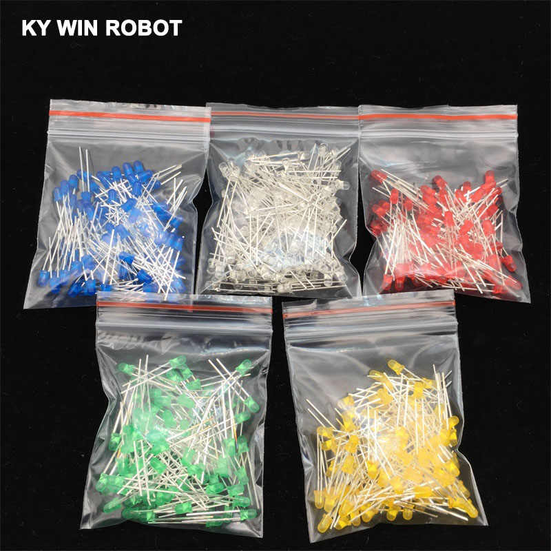 500Pcs/lot 3MM LED Diode Kit Mixed Color Red Green Yellow Blue White