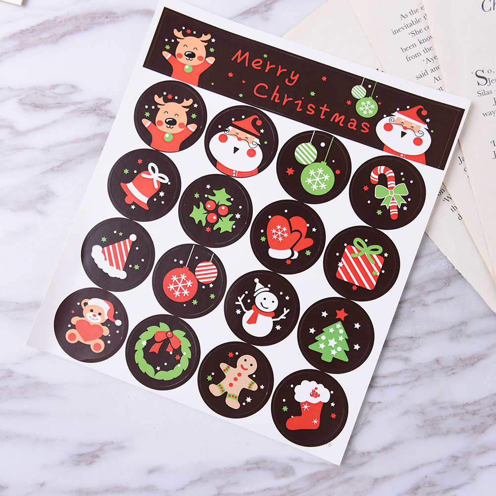 80pcs/5 Sheets DIY Scrapbooking Merry Christmas Gift Kraft Sticker Cookie/Cake/Gift Labels Stickers Kitchen Sweets Party Seal