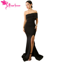 Dear Lover mermaid dress for women Sexy Off The Shoulder Black One Sleeve Slit Maxi Party Floor Length Dress robe longue LC61929