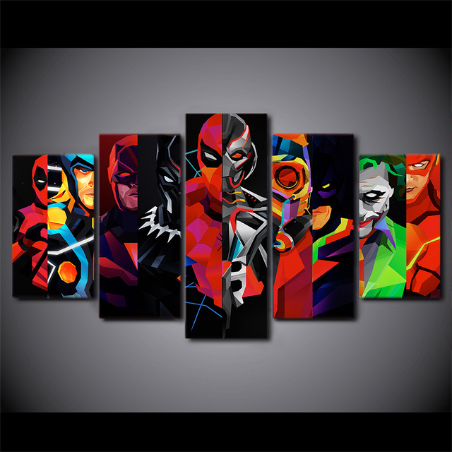 5 Pcs Set Framed HD Printed Geometric Batman Superhero Canvas Painting Poster Picture For Room