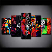 5 Pcs/Set Framed HD Printed Geometric Batman Superhero Canvas Painting Poster Picture For Room Wall Art Decorative Pictures