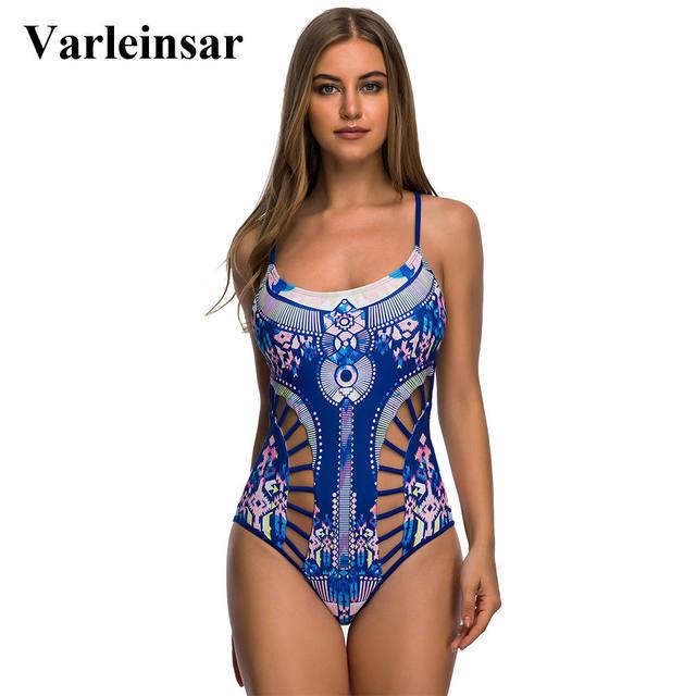 bd8dec17d96d5 New Sexy Blue Floral Print Strappy Lace Up Back 2019 One Piece Swimsuit  Women Swimwear Female Bather Bathing Suit Swim Wear V378