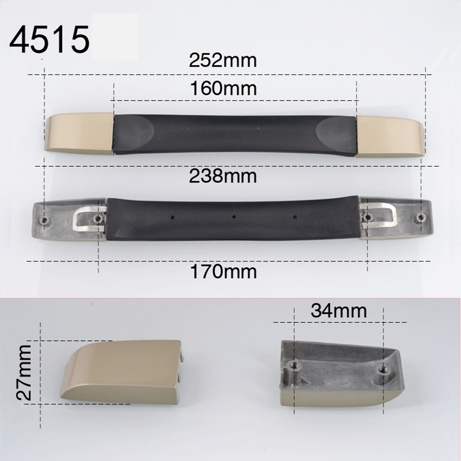 1pcs Handles For Suitcases Metal Base PVC Rubber Luggage Handle Grip Spare Fix Holders Box Pull