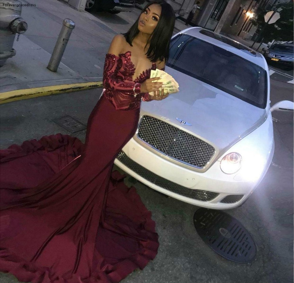 Burgundy Mermaid   Prom     Dresses   2019 South African Black Girls Holidays Graduation Wear Party Gowns Plus Size Custom Made