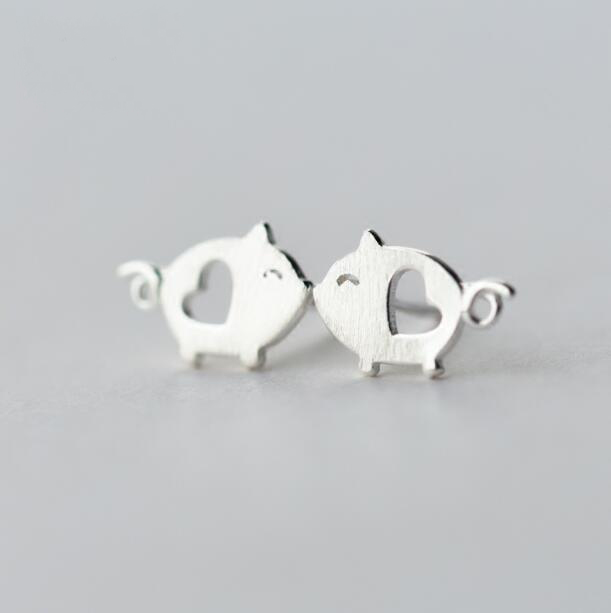 NBSAMENG 100% 925 Sterling Silver Tiny Hollow Heart Pig Animal Stud Earrings for Women Girl Fashion Jewelry Gift Prevent Allergy