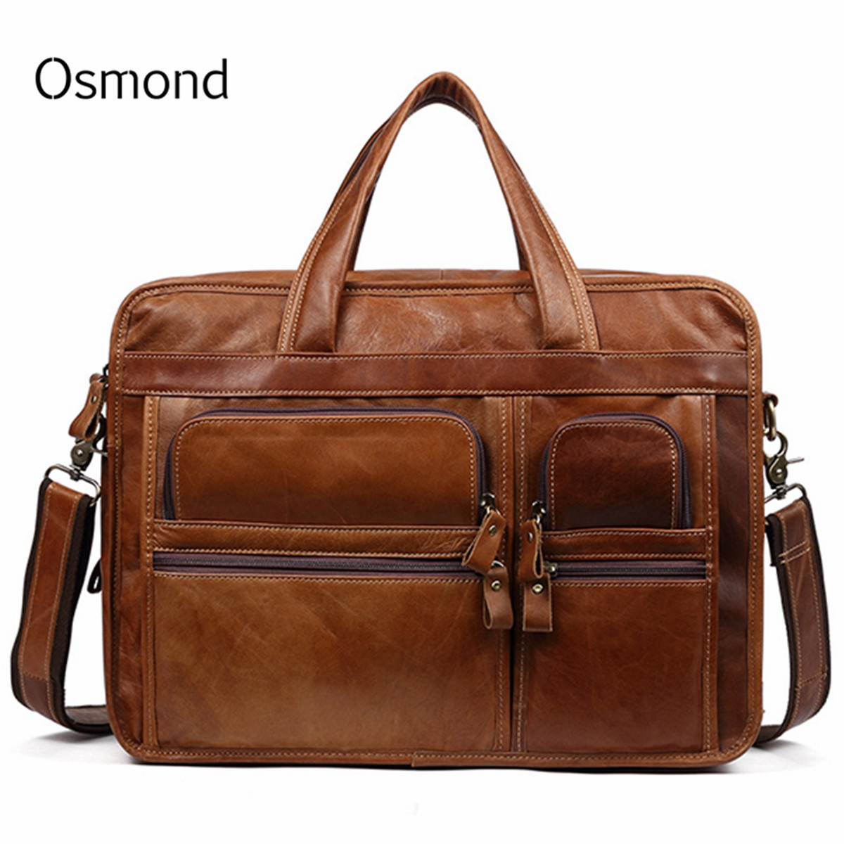 Osmond 100% Cowskin Genuine Leather Men's Briefcase Large Capacity Business Bag Shoulder Laptop Bag Tote Portfolio 2019 New