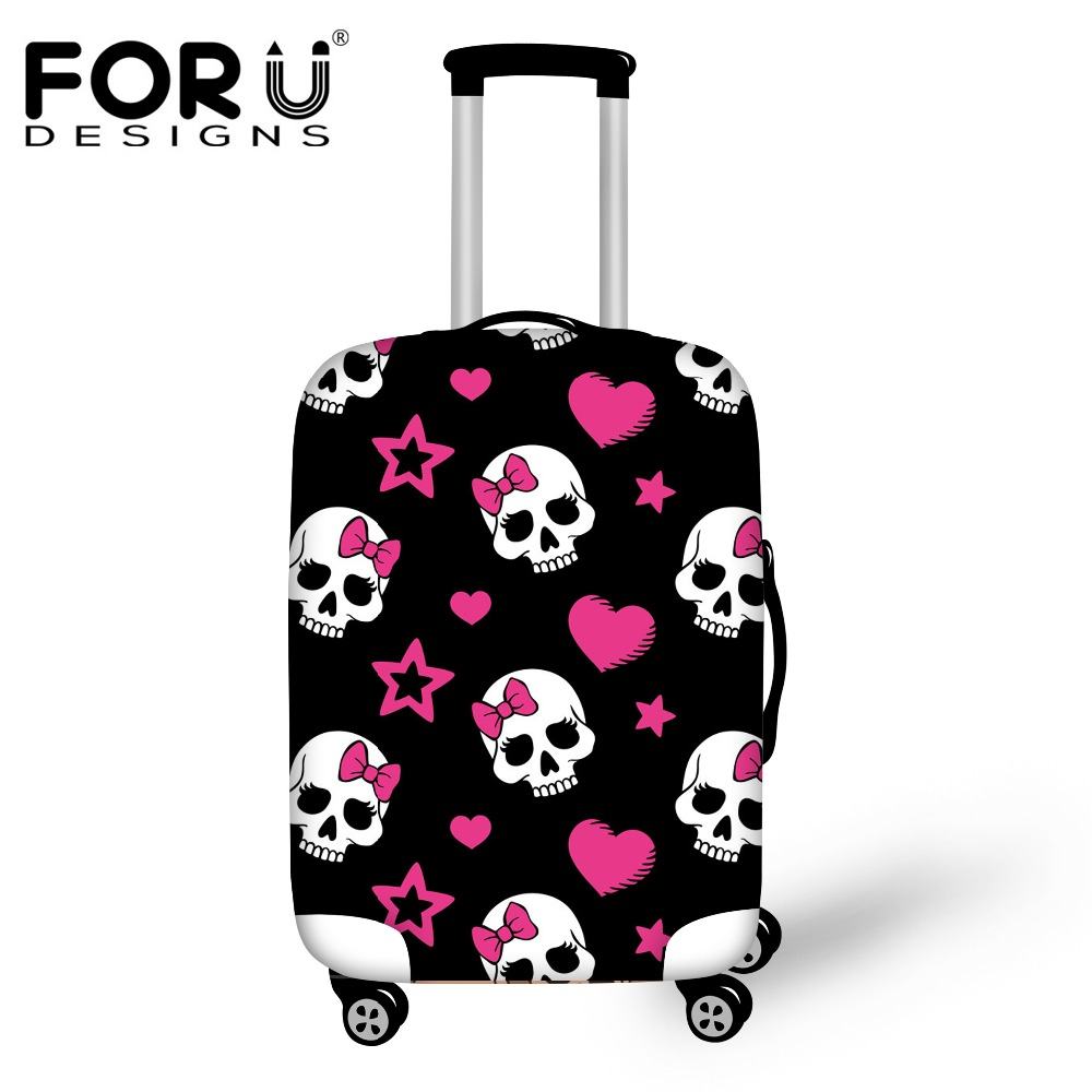 3D Cool Skull Print Luggage Protective Covers for 18-30 Inch Trolley Case Thicken Waterproof Suitcase Covers Travel Accessories