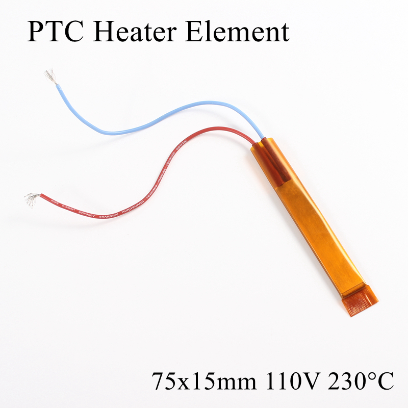 1pc 75x15mm 110V 220 Degree Celsius PTC Heater Element Constant Thermostat Insulated Thermistor Ceramic Air Heating Plate Chip
