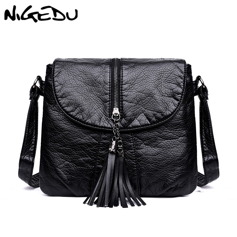 Casual Women Crossbody Bags With Tassel Soft PU Leather Messenger Bag Female Small Bags Multiple Pockets Versatile Large Capacit