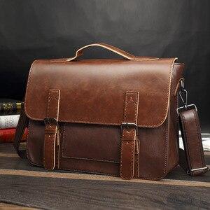 Bag men's Leather briefcase Male man lap