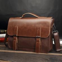 Bag men's Leather briefcase Male man laptop bag