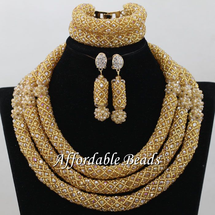 Champagne African Necklace Sets Glamorous Nigerian Beaded Jewelry Unique Style NCD117Champagne African Necklace Sets Glamorous Nigerian Beaded Jewelry Unique Style NCD117
