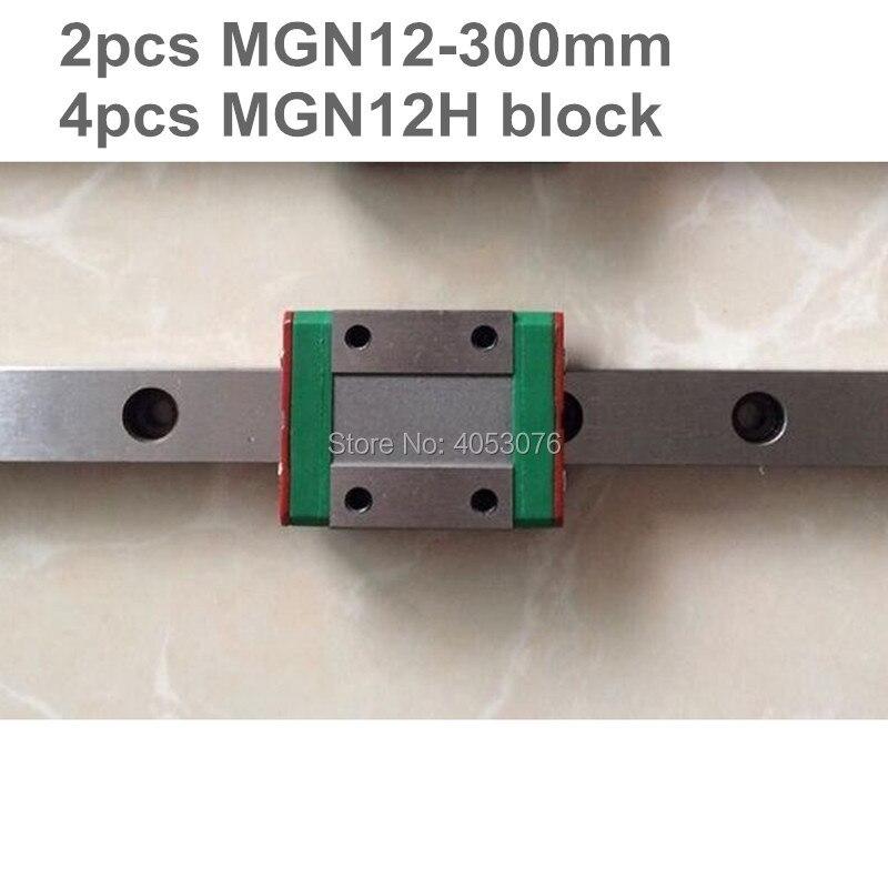 Linear guide MGN12 miniature linear rail slide 2pcs MGN12- 300mm linear rail guide +4pcs MGN12H carriage for cnc partsLinear guide MGN12 miniature linear rail slide 2pcs MGN12- 300mm linear rail guide +4pcs MGN12H carriage for cnc parts