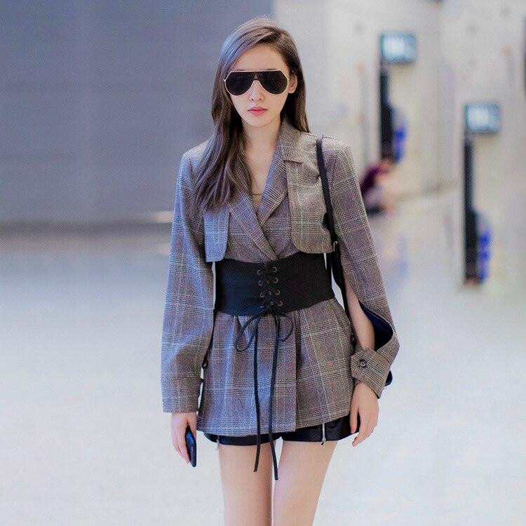2018 Frühling Frauen Einzigartiges Design Wolle Plaid Blazer Damen V-ausschnitt Hohle Ärmeln Mit Schärpen Anzug High Street Style Mit Traditionellen Methoden