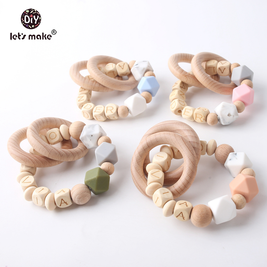 Let's Make Baby Teether Beech Bracelet Wood Ring Customize Name Personalized Food Grade Materials Wooden Teething Baby Products