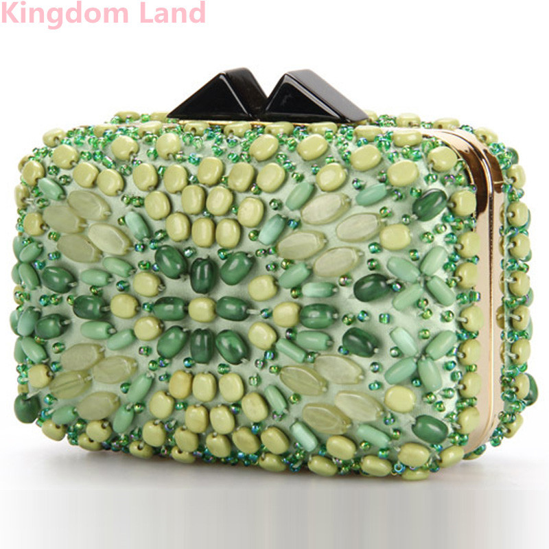 Woman Evening bag green Diamond Rhinestone Clutches Crystal Day Clutch Wallet/Purse Wedding Party Banquet black 51318 - Kingdom land store