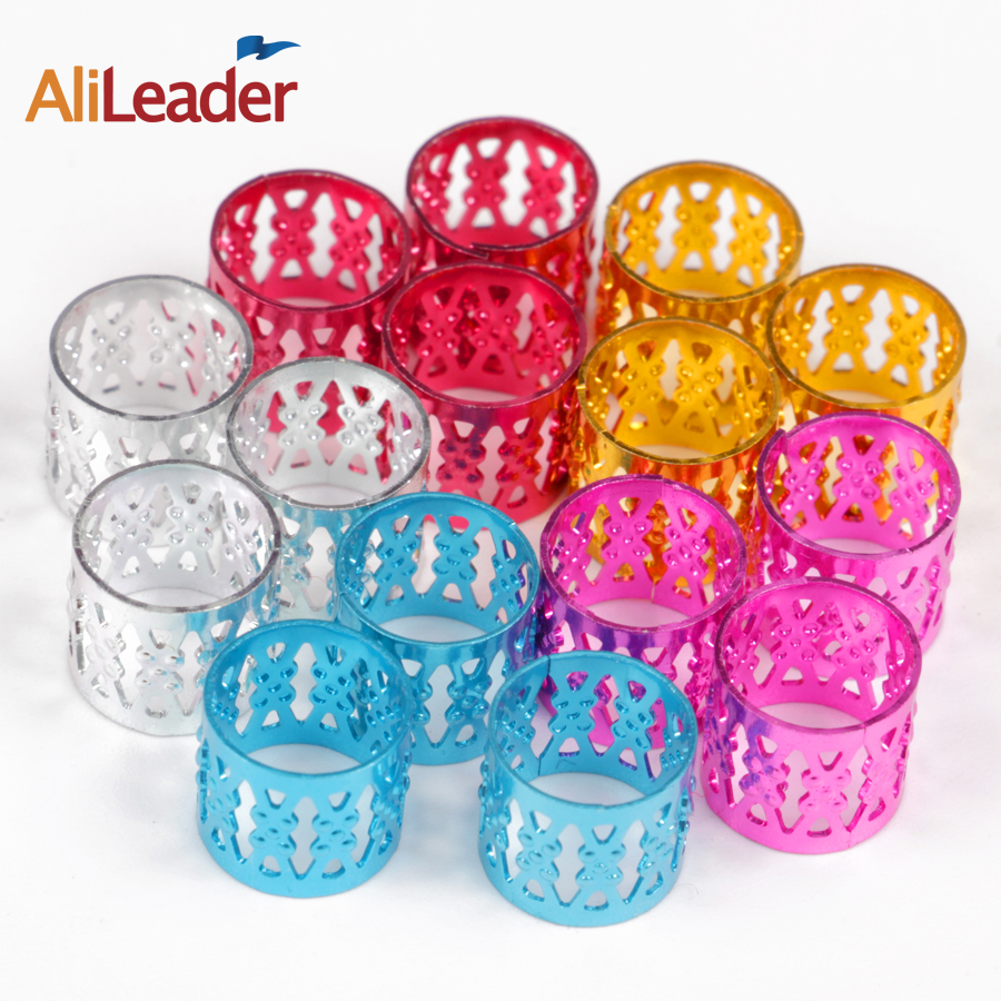 (100Pcs + 5Pcs Free) Silver Golden Plated Hair Braid Dread Dreadlock Beads Adjustable Cuff Clip 8Mm Hole Dread Beads Braid Rings