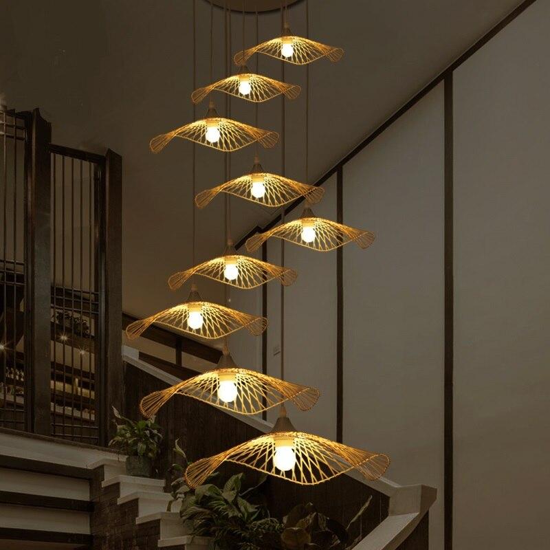 Southeast Asia Creative Lighting Stair Japanese Restaurant Bar Chinese Zen Tea Chandelier Handmade Bamboo Shaped Lamp