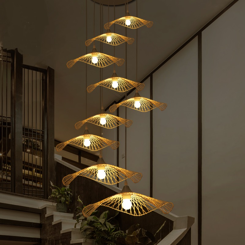 Southeast Asia Pendant Lights Creative Lighting stair Japanese Restaurant Bar Chinese tea handmade bamboo shaped lamp LU718110 southeast asian chinese antique tea bamboo rattan lamp chandelier lamp box farmhouse inn lights ya7265