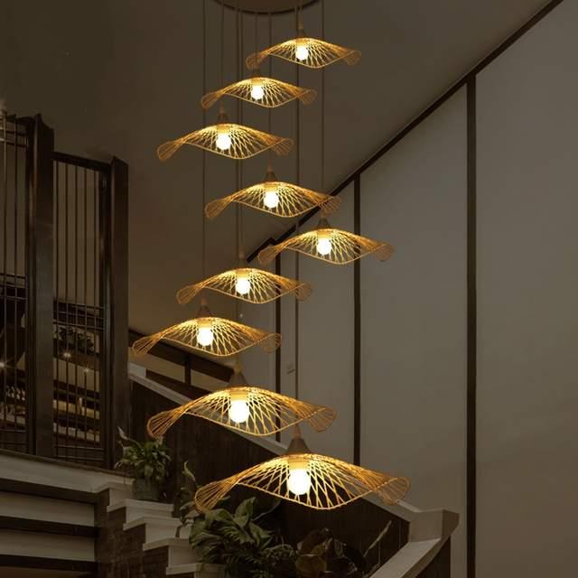 huge discount 100a9 c5101 Southeast Asia Pendant Lights Creative Lighting stair Japanese Restaurant  Bar Chinese tea handmade bamboo shaped lamp LU718110