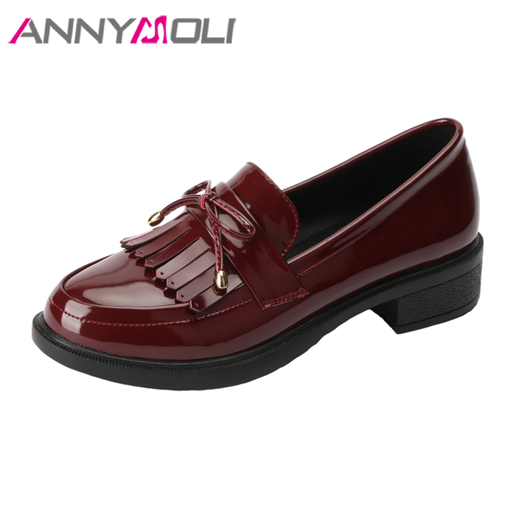 ANNYMOLI Flat Shoes Women Tassels Loafers Slip On Flats Pu Patent Leather Shoes Round Toe Bow Spring Shoes Black Plus Size 9 10 brand fedimiro spring oxford shoes women patent leather pointed toe slip on flat loafers casual metal buckles ladies flats